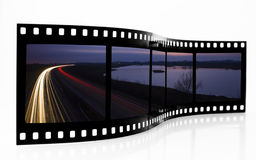 Light trails Film Strip. Motorway Light trails Film Strip stock images