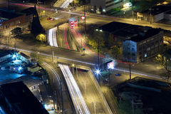 Light trails on freeways in Seattle, Washington, US Royalty Free Stock Photo