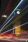 Light trails front of Big  Ben and houses of parliament at nigh Royalty Free Stock Photography