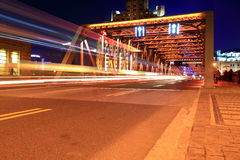 Light trails on the garden bridge in shanghai Royalty Free Stock Images