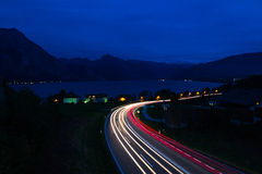 Light Trails. In Gmunden, Austria Overlooking Traunsee Stock Photography