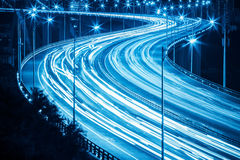 Light trails and graceful curve shape closeup Royalty Free Stock Images