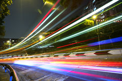 Light trails on highway Stock Photos
