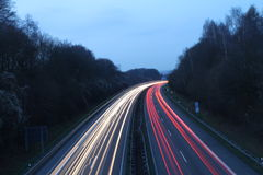 Light trails. On a highway in Germany Stock Photo