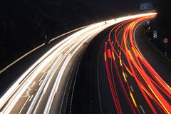 Light trails. On a highway in Germany Stock Photos