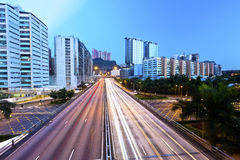 Light trails on the highway in Hong Kong Royalty Free Stock Photo