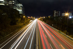 Light trails on a highway. At night Stock Photography