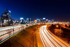 Light trails on a highway. At night Royalty Free Stock Images