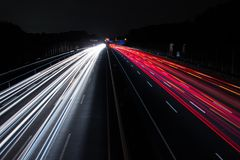 Light Trails on Highway at Night royalty free stock images