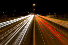 Light Trails on a Highway Stock Photos