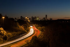 Light Trails on a Highway Stock Images