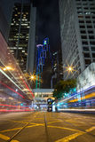 Light trails in Hong Kong at dark Stock Photography