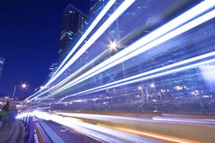 Light trails in Hong Kong highway at night royalty free stock image
