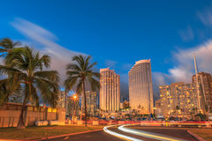 Light trails in Honolulu Royalty Free Stock Photos