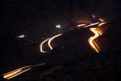 Light trails on Jabal Jais mountain road at night Stock Photography