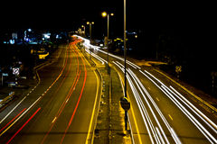 Light Trails at Jalan Tutong Royalty Free Stock Photography