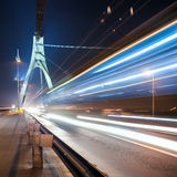 The light trails in Kiev. At night Royalty Free Stock Photo