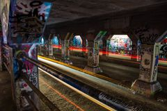 Light trails in the Krog Street Bridge, Atlanta, Georgia, USA stock photos