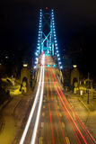 Light Trails on Lions Gate Bridge at Night Royalty Free Stock Photos