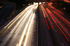 Light Trails Los Angeles Freeway Stock Images