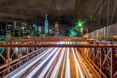Light trails - Manhattan New York. Light trails on the Brooklyn bridge Stock Image