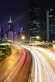 Light trails in mega city Royalty Free Stock Photo