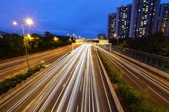 Light trails in mega city highway Royalty Free Stock Photography