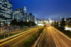 Light trails in mega city highway Royalty Free Stock Images