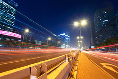 Light trails at megacity street Stock Photos
