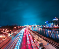 The light trails on the modern building Royalty Free Stock Photography