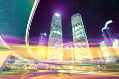 The light trails on the modern building background Royalty Free Stock Photography