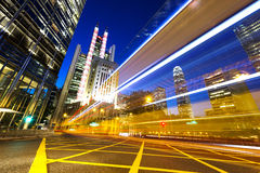 Light trails on the modern building Stock Photo