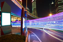 The light trails on the modern building background in shanghai c Stock Image