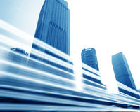 The light trails. On the modern building background in shanghai china Stock Photo