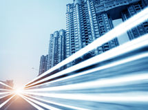 The light trails. On the modern building background in shanghai china royalty free stock images