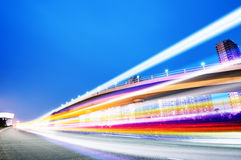 The light trails. On the modern building background in shanghai china stock images