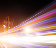 The light trails. On the modern building background in shanghai china Stock Image