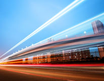 The light trails. On the modern building background in shanghai china royalty free stock photo