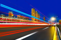 light trails on the modern building Stock Images