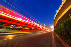 Light trails on the modern building Royalty Free Stock Image