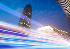 The light trails. On the modern building background in wuhan china royalty free stock photos