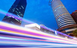 The light trails. On the modern building background in wuhan china royalty free stock image