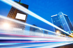 The light trails. On the modern building background in wuhan china Stock Images
