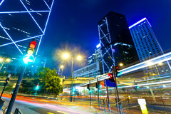 Light trails with modern buildings background royalty free stock images