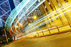Light trails in modern city Royalty Free Stock Photos