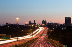 Light Trails on a Motorway at Dusk Royalty Free Stock Photo