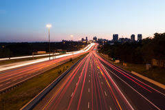 Light Trails on a Motorway at Dusk royalty free stock photography