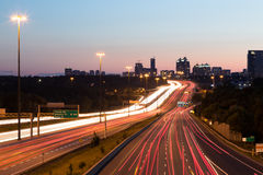 Light Trails on a Motorway at Dusk Stock Photo