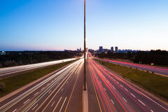 Light Trails on a Motorway at Dusk Stock Image