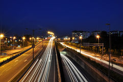 Light trails at night. City traffic light trails at night Royalty Free Stock Photos